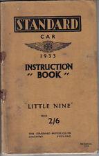 Standard Little Nine 9 4 Speed 1933 Original Owners Instruction Book (Handbook)