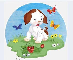 Iron on Transfer POKY LITTLE PUPPY CUTE DOG BUTTERFLY FLOWER 12x10cm