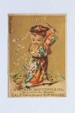 Antique trade card WHITMAN, WHITCOMB & CO., 33 LINCOLN ST., BOSTON, CALF, GRAIN