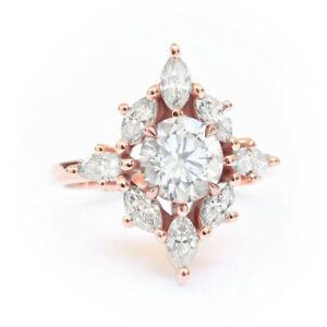 Gorgeous Rose Gold Wedding Rings Women Jewelry Cubic Zirconia Rings Sz 6-10
