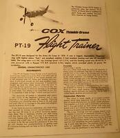 Cox Thimble Drome PT-19 Flight Trainer Photocopy Instruction Sheets for Plane