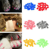 New 20pcs Soft Cat Pet Nail Caps Claw Control Paws off +Adhesive Glue Size XS-VV