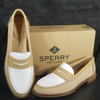Sperry Top-Sider Women Seaport Tri Tone Penny Loafer Tan White Women's Size 7.5