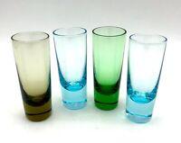 Vintage Set of 4 Colored Glass Shot Shooter Cordial Glasses