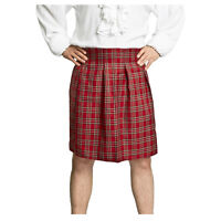 Adult Men's Scottish Red Tartan Scotsman Halloween Cosplay Costume Kilt STD XL