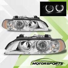 [LED Halo] 1997-2003 BMW E39 5-Series 528i/540i Chrome Projector Headlights Pair