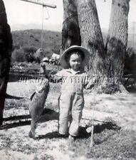 Antique Reprint Fishing 8X10 Photograph Boy With Rod Reel & Big Fish