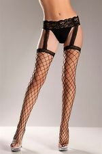 Fence Net Garter Belt Stockings New Adult Womens Sexy Valentine Black One Size