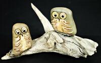 Painted Rock Owls on Driftwood Log Desk Shelf Decor Paperweight Art