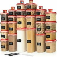 LARGEST Set of 60 Pc Airtight Food Storage Containers (30 Container Set) Red