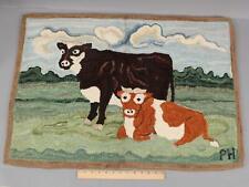 Original Signed PAT HORNAFIUS American Folk Art Wool Hooked Rug w/ COWS