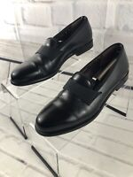 Salvatore Ferragamo Men's Black Leather Penny Loafers Size 8 D Made In Italy
