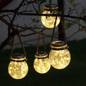 Solar Powered Garden Glass Mason Jar Fairy Lights Hanging Lantern Outdoor Lamp