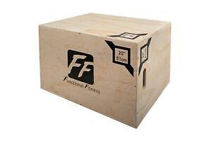 "FunctionalFitness 3 in 1 Wooden Plyo Box – 20"" 24"" 30"" (51cm 61cm 76cm)"
