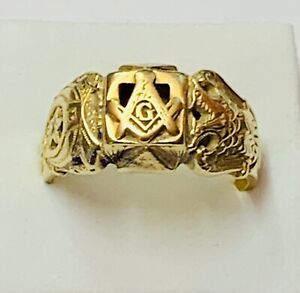 """Masonic 14ct Gold Gents Signet Ring"" Heavy 10.2g"