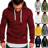 Mens Hooded Pullover Jumper Tops Hoodies Sports Coat Sweatshirt Outwear A++