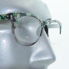 Retro Green Floral Flower Frame 60's Bottomless Reading Glasses +2.25 Strength