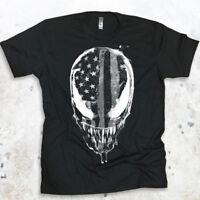 Venom Mens Graphic T-shirt American Flag USA Tee Spiderman Mens Shirt Carnage