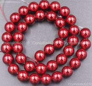 "NonMagnetic Metallic Red Rose Hematite Gemstone Round Beads 6mm 8mm 10mm 16"""