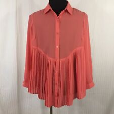 Denim 24 7 Womens Pleated Top Blouse Size 14 Coral Button Up Lightweight Pleats