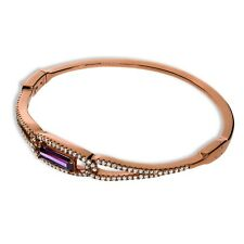 J JAZ Alia Rose Gold Plated Silver 925 Purple Clear Cubic Zirconia Bangle