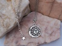 Tibetan Silver Crescent Moon & Sun Charm Necklace.Eclipse.Handmade