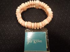 Jay KIng Peach Steatite Double Strand Station Stretch Bracelet NIB