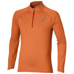Asics Men's 1/2 Zip Top Sports Running Long Sleeve Jersey Top - Koi Orange - New