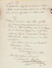 Général MOYNAT d'AUXON autographe 1794 / Son Retour en Graces
