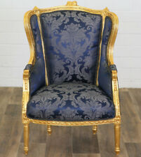 BAROCK SESSEL royal-blau, OHRENSESSEL, BAROCKSTIL FAUTEUIL ANTIK-GOLD LESESESSEL