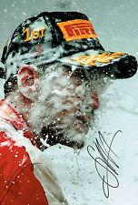 Sebastian VETTEL SIGNED FERRARI Formula 1 Race Winner Portrait Photo AFTAL COA