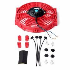 10 inch Slim Fan Push Pull Electric Radiator Cooling 12V Mount Universal Kit Red