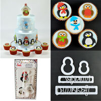 FMM Cake Icing Cutters Mummy and Baby Penguin Snowman Chick Robin Christmas Set