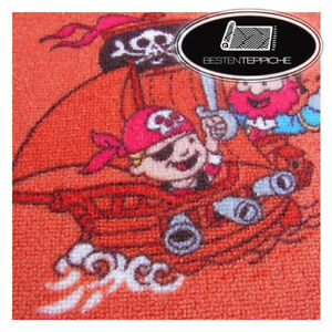 Kid's Carpet Little Pirates Pirate, for Kids, Play Carpet, Red, all Sizes