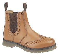 MENS SIZE 3 4 5 6 7 8 9 10 11 12 BROWN LEATHER BROGUE SLIP PULL ON DEALER BOOTS