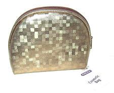 NEW Perfection Cosmetics Makeup Bag Clutch Metallic Gold Lined 5 X 6