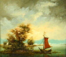 Fine 19th C French School Oil on Panel 'Boat on Still Water' Signed J Wiltorski