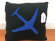 NEW $100 airplane pillow black royal blue feather apres collective