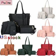 4Pcs/Set Women Lady PU Leather Handbag Shoulder Tote Messenger Bag Satchel Purse