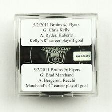 2010-11 Brad Marchand & Chris Kelly Boston Bruins Double Goal-Scored Puck