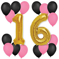 "30"" 16th Birthday Wedding Anniversary Foil Balloons Pink Black 10"" Pannu baloon"