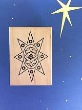 Rare OUTLINES Rubber Stamp Christmas Bethlehem Star Religious LAYER Wood Mount