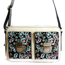 Fossil Riley Top Zip Cross Body Shoulder Leather Bag Dark Floral + Dustbag