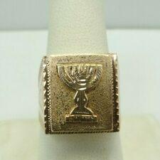 14K Rose Gold Religious Menorah Textured Ring Size 9.5 17.5mm 8.7 Grams D9944