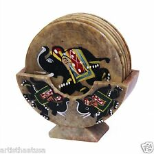 Artist Haat Set of 6 Handmade Stone Bar Coaster Hand painted Elephant Design
