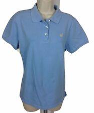 Caribbean Joe Womens Polo XL Cotton Spandex Light Blue Short Sleeve Top