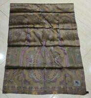 Gorgeous Scarf Long Shawl ETRO Paisley Burgundy Golden Green 100%Silk 65cmx150cm