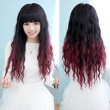 Femmes Cosplay Noir Rouge Cheveux Synthétiques Ondulé Bouclé Longue Perruque Wig