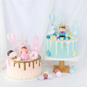 Prince Princess Tower Kids Birthday Cake Topper Flag Wedding Party Baking Decor