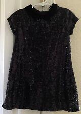 Zara Girls Little Girl Black Sequins Holiday Dress Velvet Collar Size 5 EUC LN
